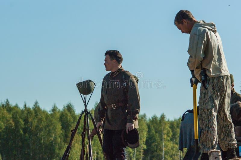 Πυροβολισμός των συνόρων ` ταινιών ` Ilyinsky στην περιοχή Kaluga της Ρωσίας στοκ φωτογραφία