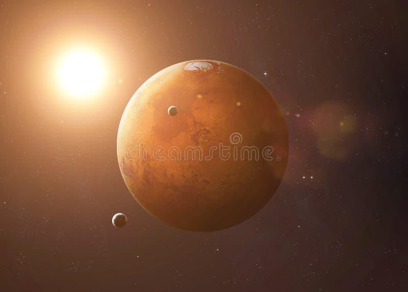 Πυροβοληθείς του Άρη που λαμβάνεται από τον ανοιχτό χώρο Εικόνες κολάζ στοκ εικόνες