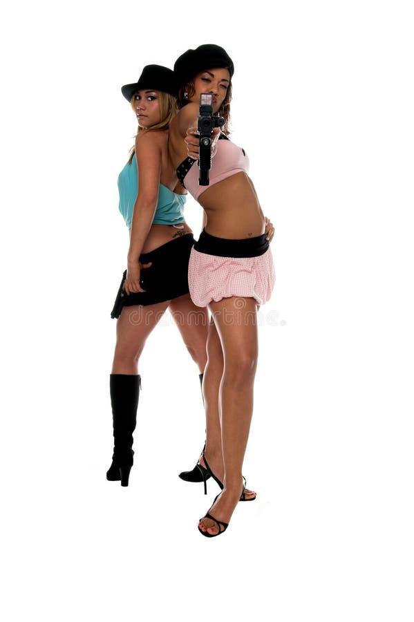 πυροβόλα όπλα κοριτσιών στοκ φωτογραφία