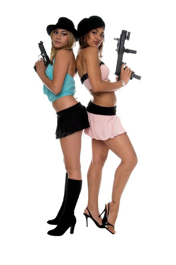 πυροβόλα όπλα κοριτσιών στοκ φωτογραφίες
