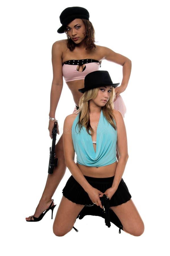 πυροβόλα όπλα κοριτσιών στοκ εικόνες