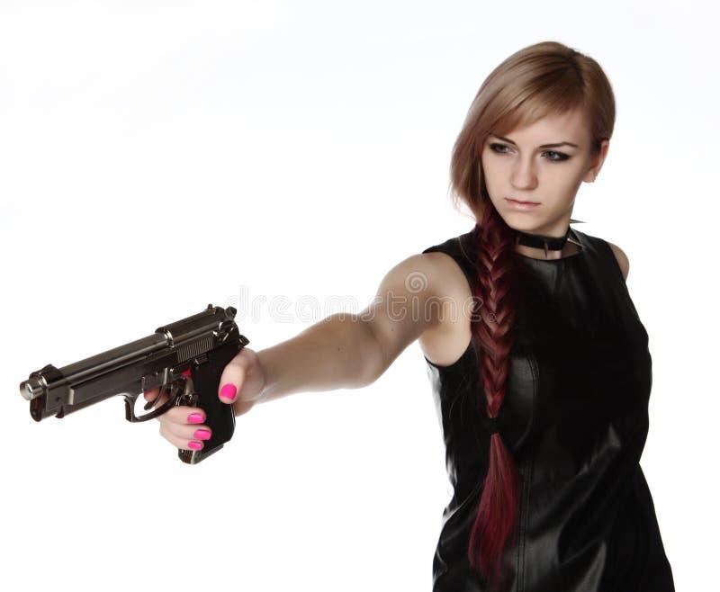 Πυροβόλο όπλο εκμετάλλευσης κοριτσιών στοκ φωτογραφία