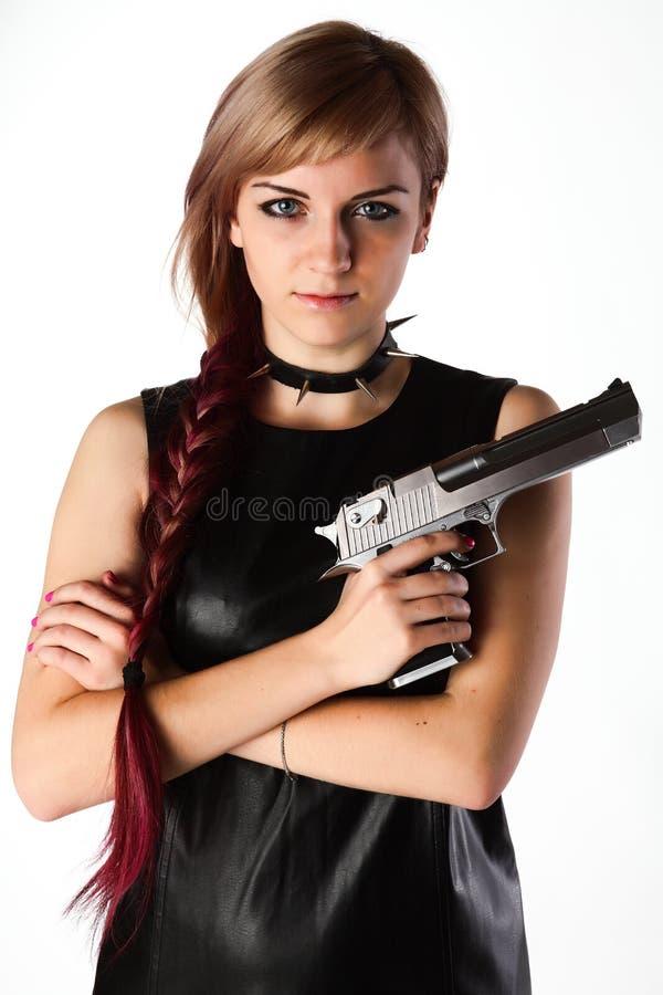Πυροβόλο όπλο εκμετάλλευσης κοριτσιών στοκ φωτογραφίες
