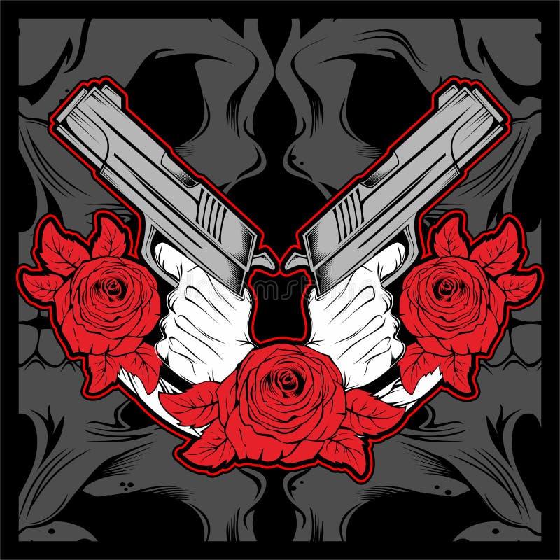 πυροβόλο όπλο εκμετάλλευσης 2 χεριών με ροδαλό, διάνυσμα ελεύθερη απεικόνιση δικαιώματος