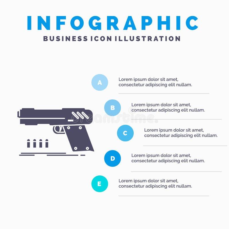 πυροβόλο όπλο, περίστροφο, πιστόλι, σκοπευτές, πρότυπο Infographics όπλων για τον ιστοχώρο και παρουσίαση Γκρίζο εικονίδιο GLyph  ελεύθερη απεικόνιση δικαιώματος