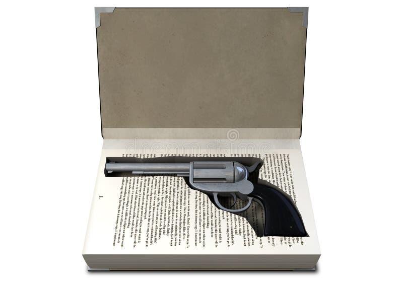 Πυροβόλο όπλο που κρύβεται σε ένα βιβλίο στοκ φωτογραφίες