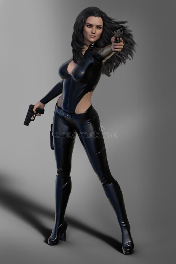 Πυροβόλο όπλο που το θηλυκό του Sci Fi enforcer με μακρυμάλλη που ντύνεται στο μαύρο δέρμα διανυσματική απεικόνιση