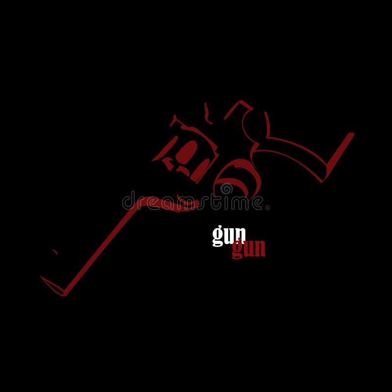 Πυροβόλο όπλο - σκούρο κόκκινο χρώμα απεικόνιση αποθεμάτων