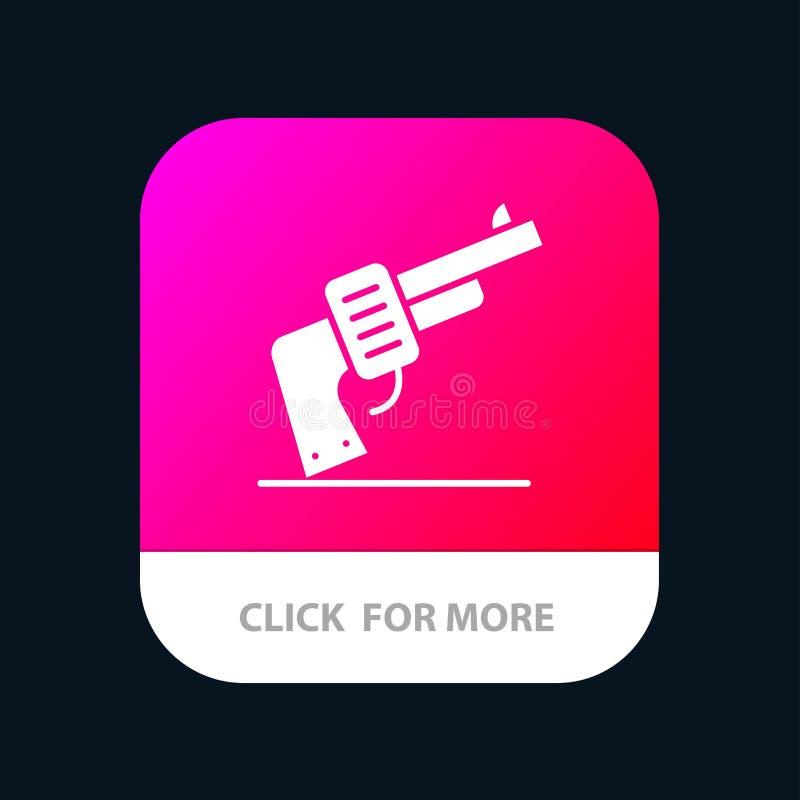 Πυροβόλο όπλο, χέρι, όπλο, αμερικανικό κινητό App κουμπί Αρρενωπή και IOS Glyph έκδοση ελεύθερη απεικόνιση δικαιώματος
