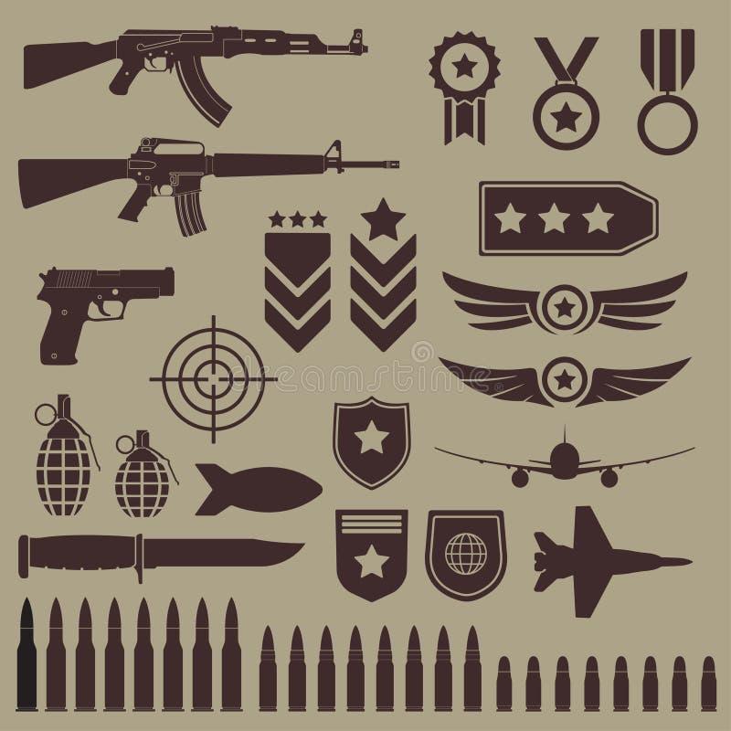 Πυροβόλο όπλο, όπλα και στρατιωτικό σύνολο εικονιδίων Υπο- πολυβόλα, πιστόλι και εικονίδια σφαιρών Symbolics και διακριτικό για τ διανυσματική απεικόνιση