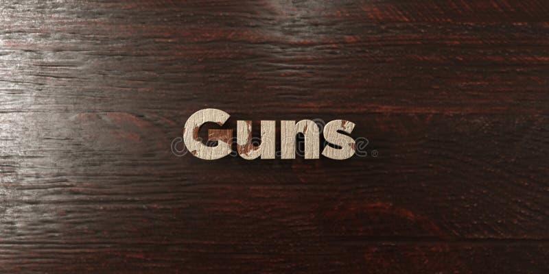 Πυροβόλα όπλα - βρώμικος ξύλινος τίτλος στο σφένδαμνο - τρισδιάστατο δικαίωμα ελεύθερη εικόνα αποθεμάτων διανυσματική απεικόνιση