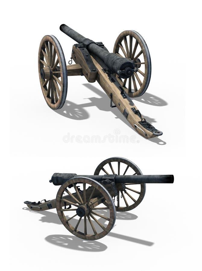 Πυροβόλο εμφύλιου πολέμου - δύο απόψεις ελεύθερη απεικόνιση δικαιώματος