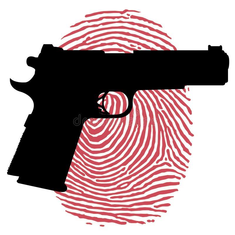 Πυροβόλο όπλο και αιματηρό δακτυλικό αποτύπωμα ελεύθερη απεικόνιση δικαιώματος