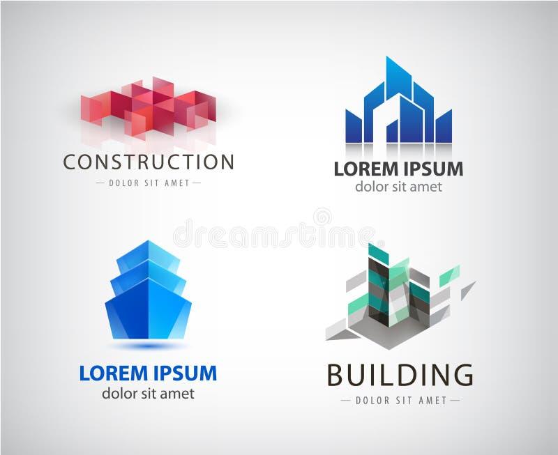 Πυροδοτώ? διάνυσμα bilding λογότυπα, structureReal κτήμα αρχιτεκτονικής απεικόνιση αποθεμάτων