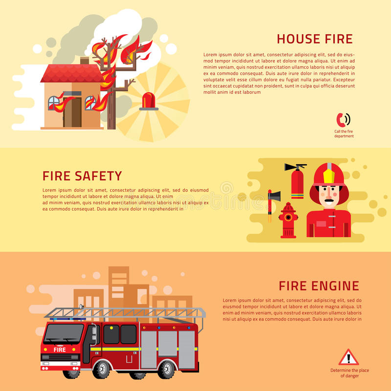 Πυροσβέστες 3 επίπεδα οριζόντια εμβλήματα διανυσματική απεικόνιση