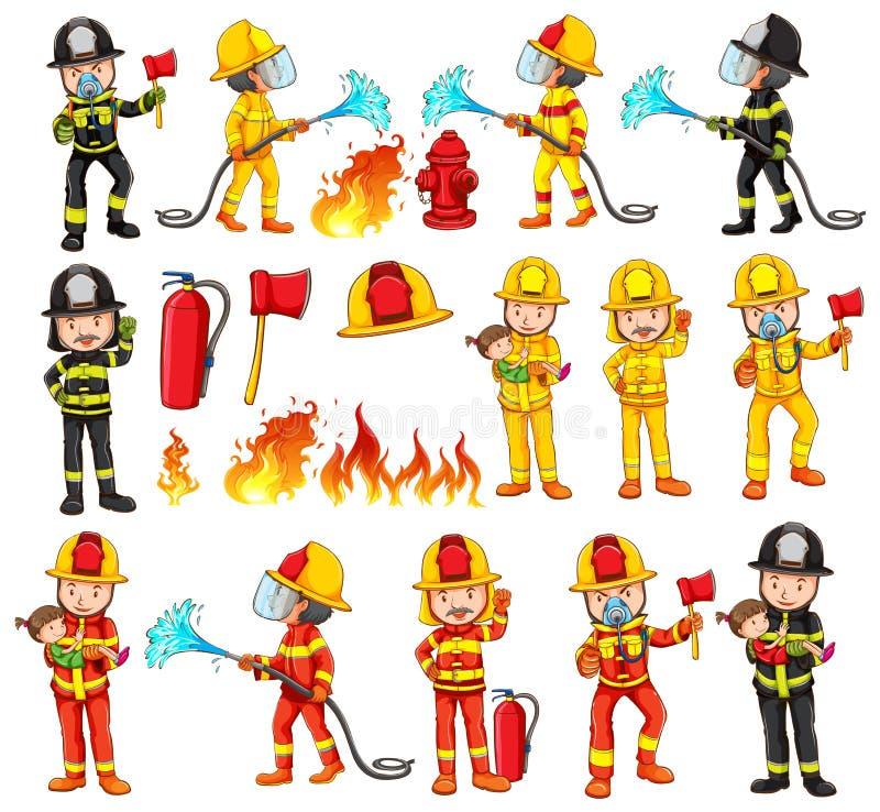 Πυροσβέστες και εξοπλισμοί καθορισμένοι ελεύθερη απεικόνιση δικαιώματος