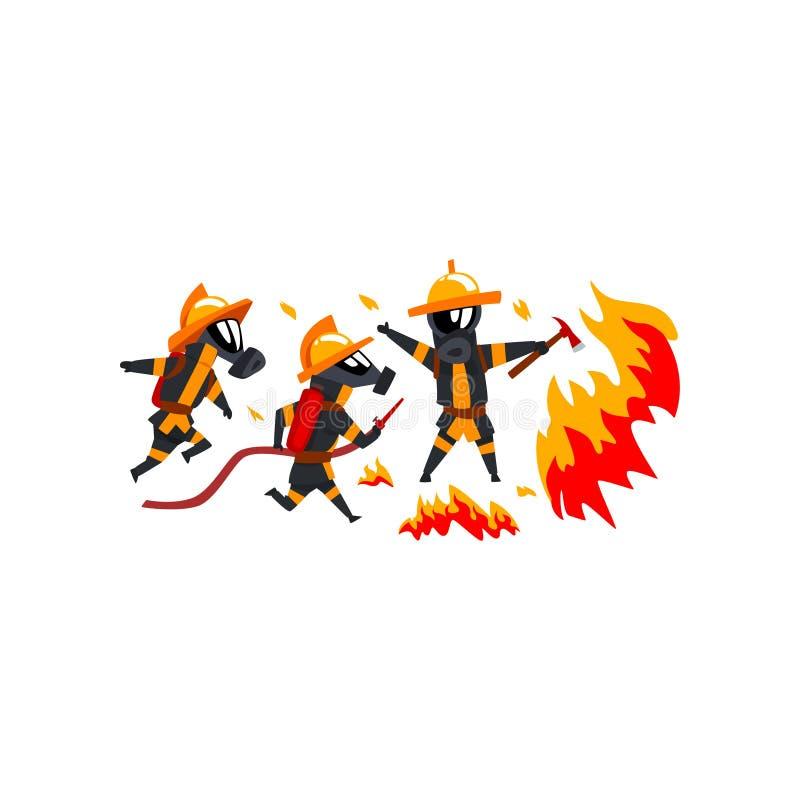 Πυροσβέστες που ψεκάζουν το νερό στην πυρκαγιά, χαρακτήρες πυροσβεστών στην ομοιόμορφη διανυσματική απεικόνιση σε ένα άσπρο υπόβα ελεύθερη απεικόνιση δικαιώματος