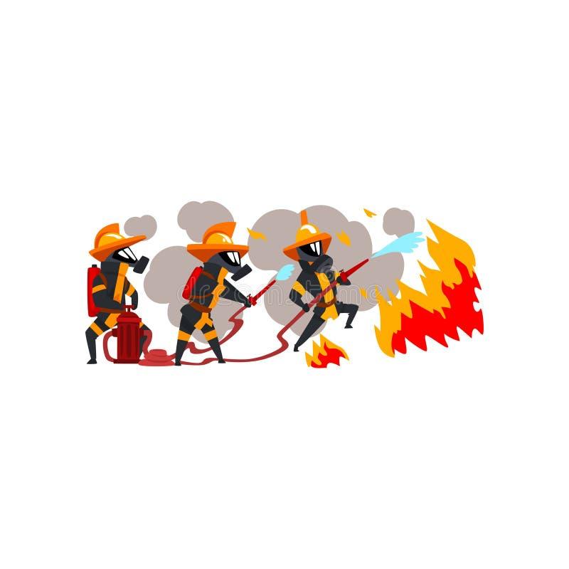 Πυροσβέστες που ψεκάζουν το νερό στην πυρκαγιά, χαρακτήρες πυροσβεστών σε ομοιόμορφο και τη μάσκα στη διανυσματική απεικόνιση εργ απεικόνιση αποθεμάτων