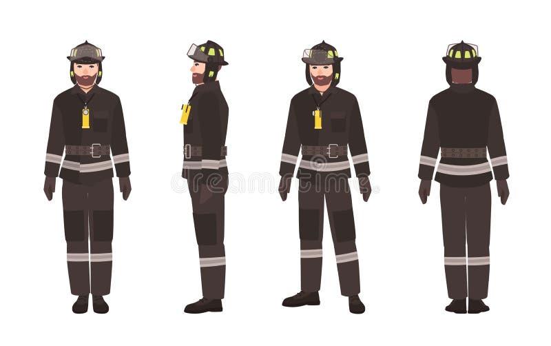 Πυροσβέστης ή πυροσβέστης που φορούν τα προστατευτικά ενδύματα ή ομοιόμορφος και κράνος που απομονώνεται στο άσπρο υπόβαθρο Αρσεν ελεύθερη απεικόνιση δικαιώματος