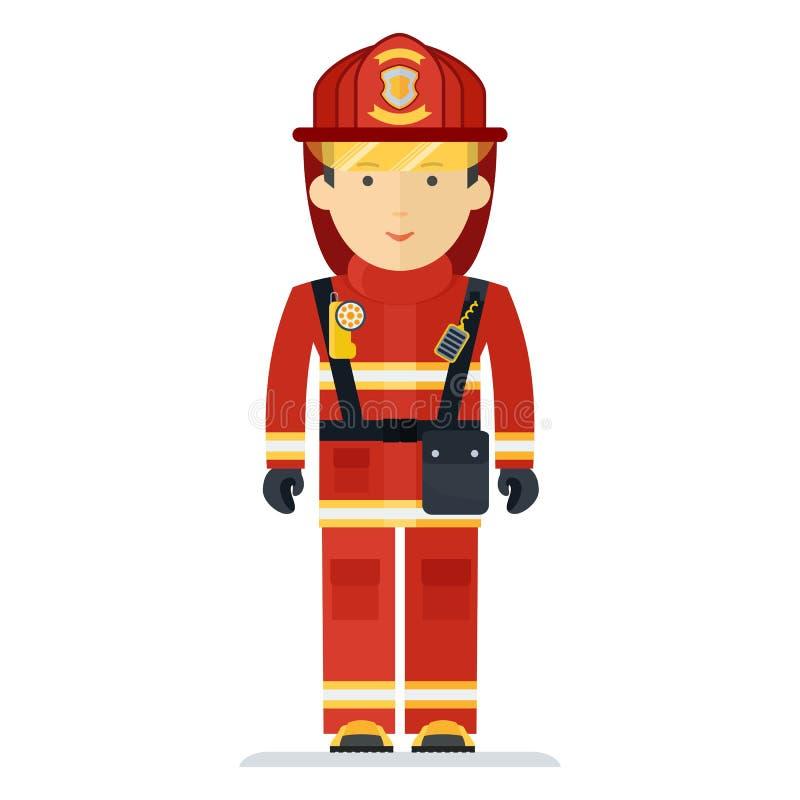 Πυροσβέστης επαγγέλματος στο κοστούμι διανυσματική απεικόνιση