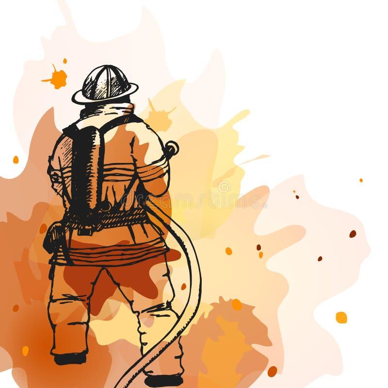 Πυροσβέστης με ένα σημάδι μανικών διανυσματική απεικόνιση