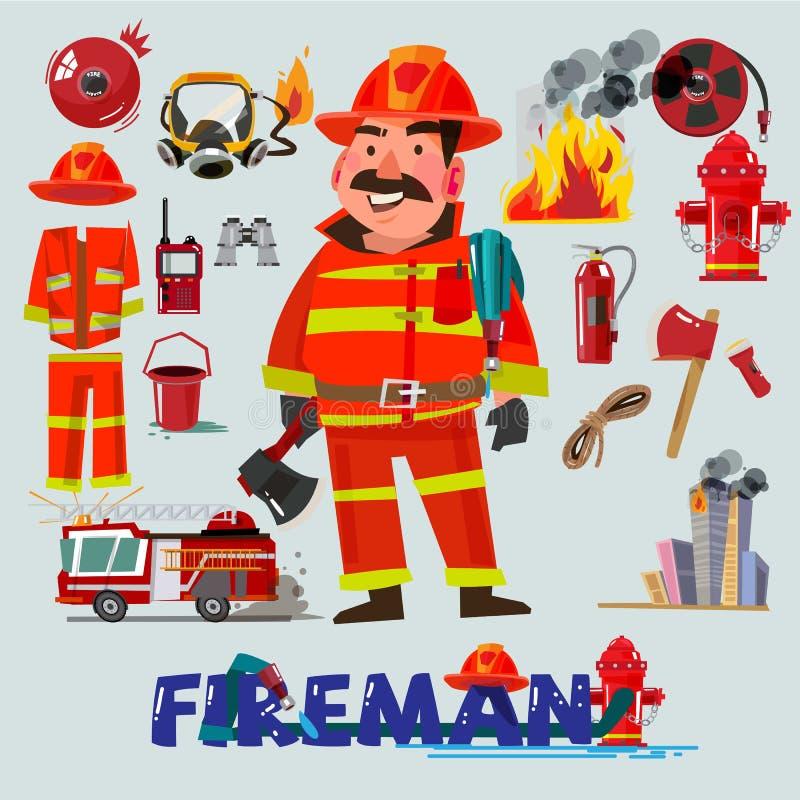 Πυροσβέστης με και πρώτος εξοπλισμός βοήθειας Σχέδιο χαρακτήρα έλατο ελεύθερη απεικόνιση δικαιώματος
