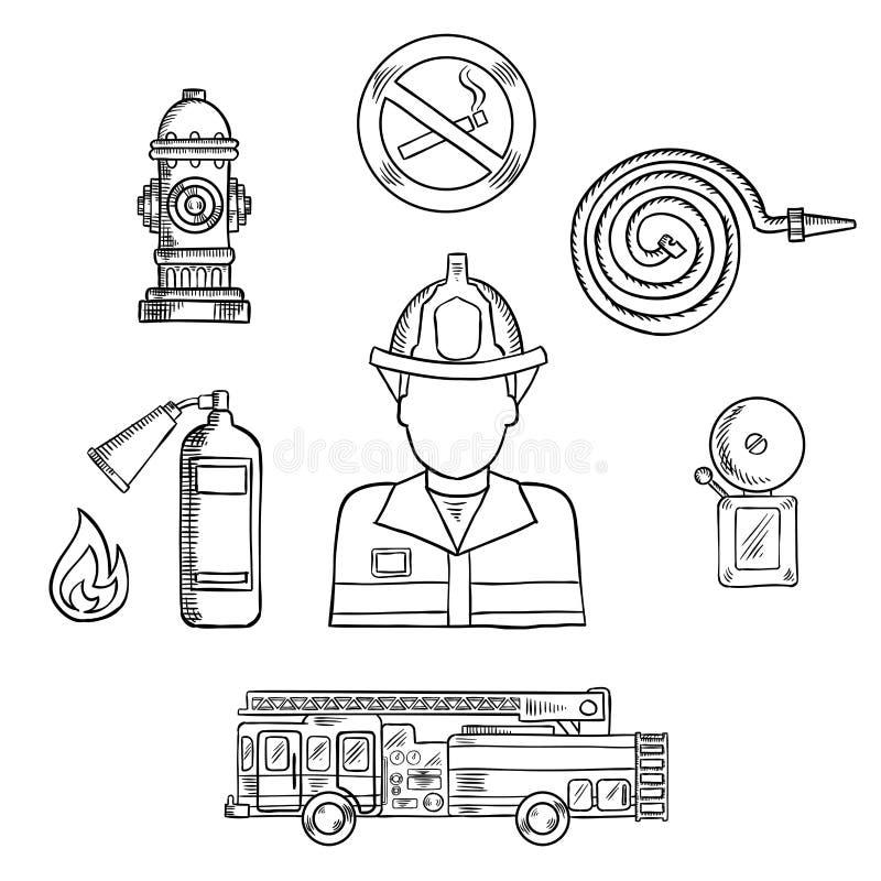 Πυροσβέστης με τα σύμβολα σκίτσων πυροπροστασίας διανυσματική απεικόνιση