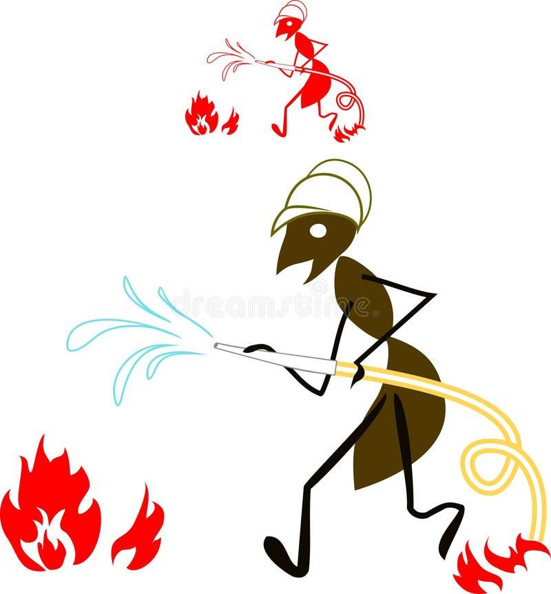 Πυροσβέστης μυρμηγκιών διανυσματική απεικόνιση