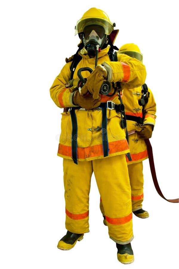 Πυροσβέστης που απομονώνεται στο λευκό στοκ εικόνες