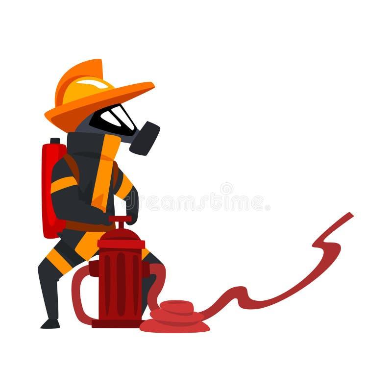 Πυροσβέστης σε ένα προστατευτικό νερό ψεκασμού μασκών που χρησιμοποιεί το στόμιο υδροληψίας, χαρακτήρας πυροσβεστών στην ομοιόμορ απεικόνιση αποθεμάτων