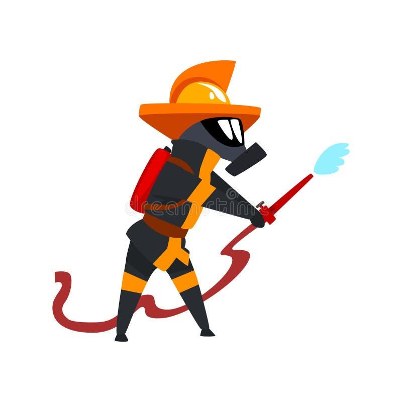Πυροσβέστης σε ένα προστατευτικό νερό ψεκασμού μασκών, το χαρακτήρα πυροσβεστών σε ομοιόμορφο και τη μάσκα στη διανυσματική απεικ ελεύθερη απεικόνιση δικαιώματος