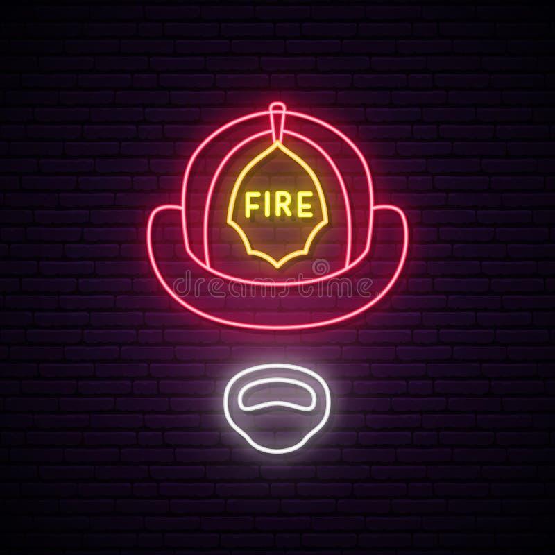 Πυροσβέστης στο καμμένος σημάδι νέου κρανών διανυσματική απεικόνιση