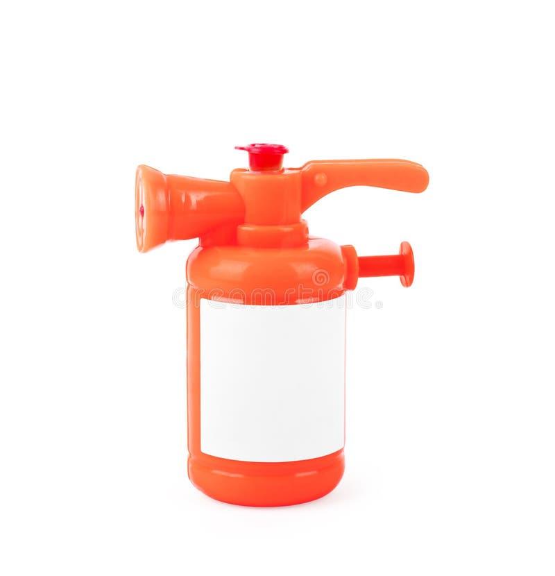Πυροσβεστήρας παιχνιδιών σε λευκό φόντο στοκ εικόνες