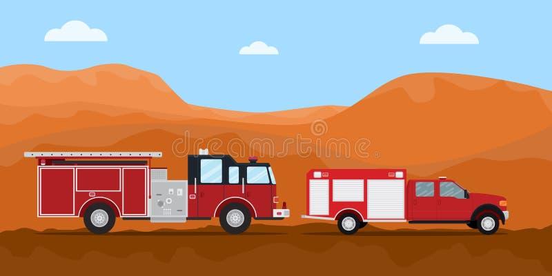 Πυροσβεστήρας φορτηγών πυροσβεστών στην οδική συνοδεία με την έρημο βουνών ξηρά ως υπόβαθρο διανυσματική απεικόνιση