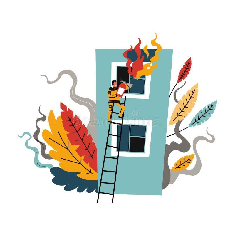 Πυροσβεστική, πυροσβέστης ατόμων που αναρριχείται στη σκάλα για να σώσει τη ζωή απεικόνιση αποθεμάτων