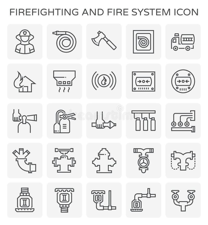 Πυροσβεστικό εικονίδιο συστημάτων ελεύθερη απεικόνιση δικαιώματος