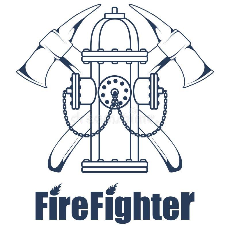 Πυροσβεστικό λογότυπο Το κεφάλι πυροσβεστών ` s σε μια μάσκα Ετικέτα πυροσβεστικών υπηρεσιών απεικόνιση αποθεμάτων