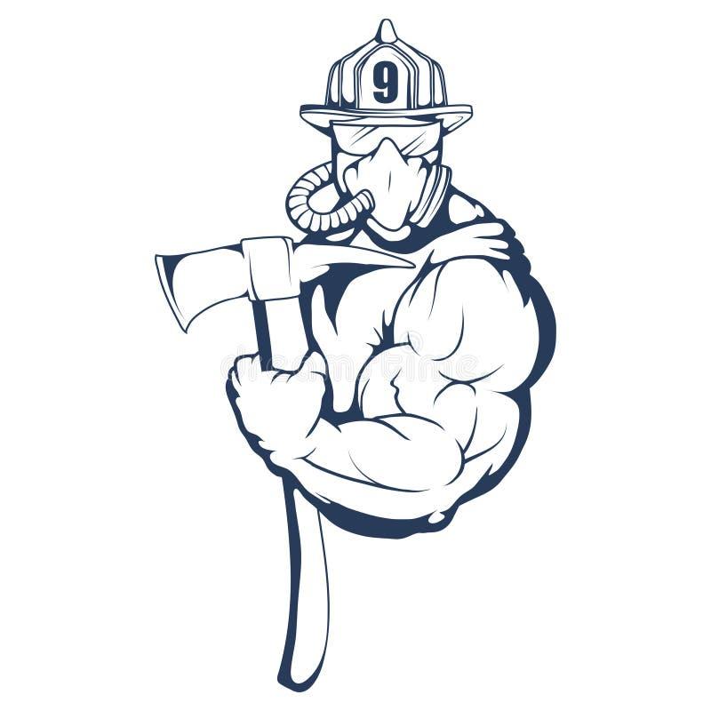 Πυροσβεστικό λογότυπο Το κεφάλι πυροσβεστών ` s σε μια μάσκα Ετικέτα πυροσβεστικών υπηρεσιών διανυσματική απεικόνιση