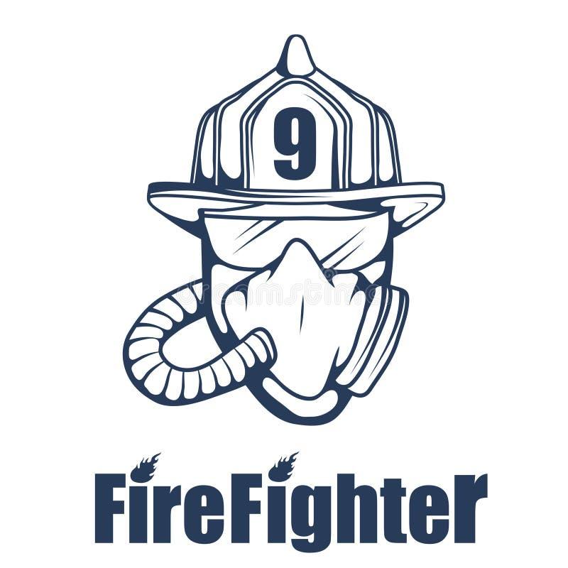 Πυροσβεστικό λογότυπο Το κεφάλι πυροσβεστών ` s σε μια μάσκα ελεύθερη απεικόνιση δικαιώματος