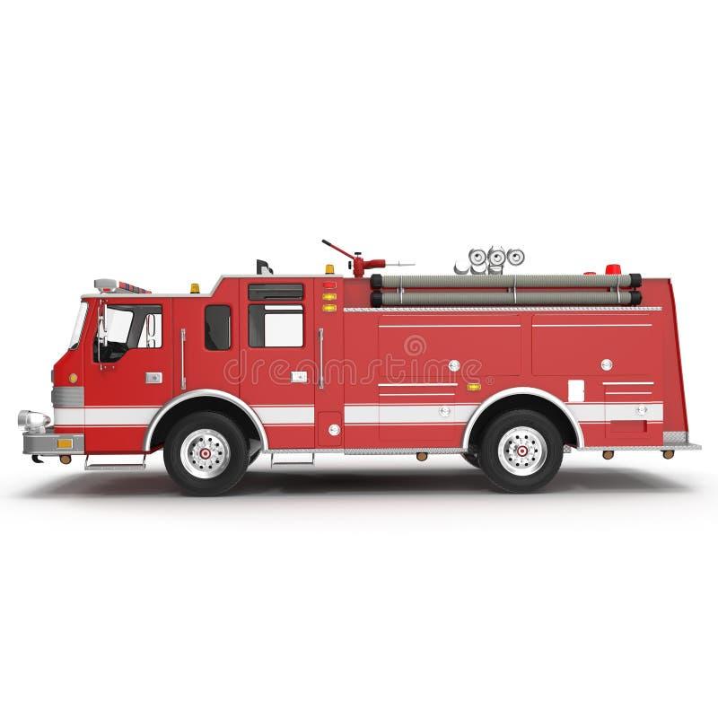 Πυροσβεστικό όχημα ή μηχανή πλάγιας όψης που απομονώνεται στο λευκό τρισδιάστατη απεικόνιση απεικόνιση αποθεμάτων