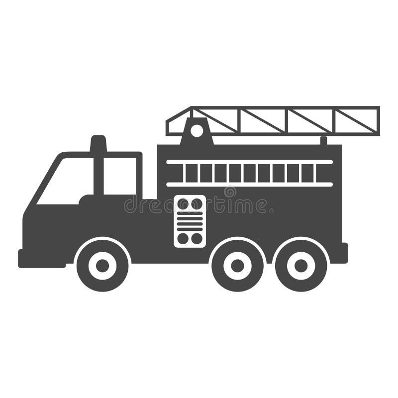 Πυροσβεστικό όχημα, εικονίδιο πυροσβεστικών σταθμών απεικόνιση αποθεμάτων