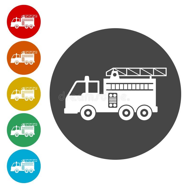 Πυροσβεστικό όχημα, εικονίδιο πυροσβεστικών σταθμών διανυσματική απεικόνιση