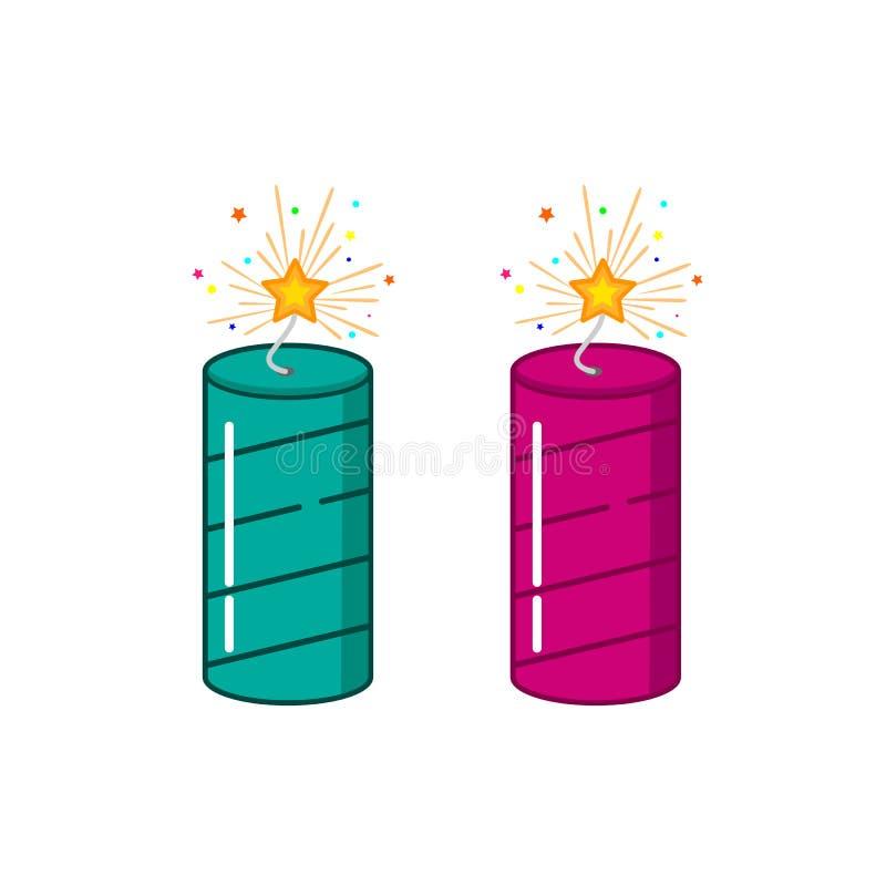 Πυροτέχνημα κροτίδων πυρκαγιάς για το διανυσματικό σχέδιο φεστιβάλ diwali happy απεικόνιση αποθεμάτων