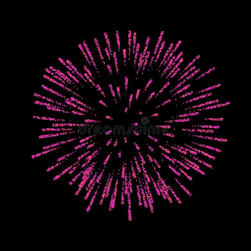 πυροτέχνημα που απομονών&epsil Όμορφος χαιρετισμός στο μαύρο υπόβαθρο Φωτεινή διακόσμηση πυροτεχνημάτων για τη κάρτα Χριστουγέννω ελεύθερη απεικόνιση δικαιώματος