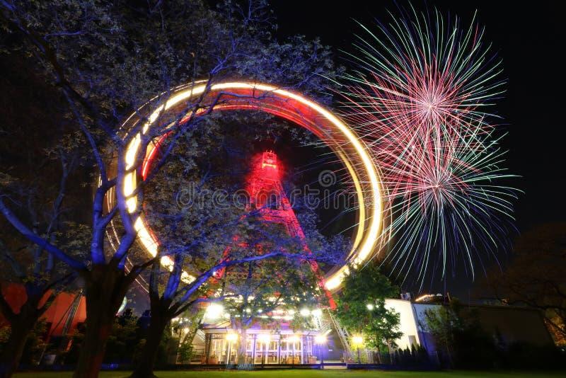 Πυροτέχνημα στη Βιέννη Prater στοκ εικόνα με δικαίωμα ελεύθερης χρήσης