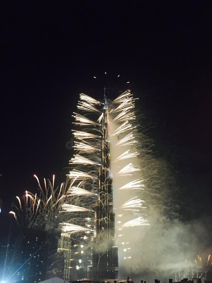 Πυροτέχνημα στο khalifa Ντουμπάι burj στοκ φωτογραφίες