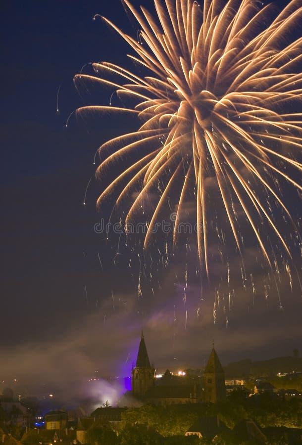 πυροτεχνήματα Γαλλία στοκ εικόνα με δικαίωμα ελεύθερης χρήσης