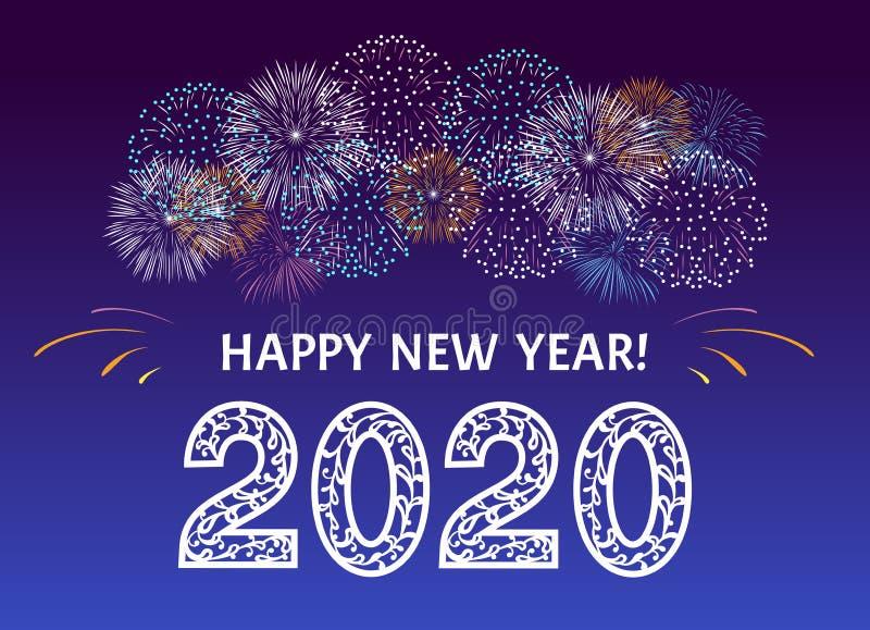 Πυροτεχνήματα για γιορτές Ευτυχισμένο το νέο έτος 2020 Αριθμοί διακοσμημένοι με δαντελωτά στολίδια και πολύχρωμο έντονο πιστολόχα απεικόνιση αποθεμάτων