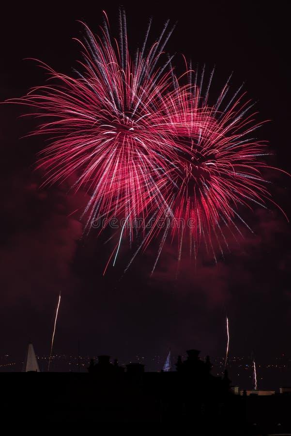 Πυροτεχνήματα κάστρων της Πράγας στοκ εικόνα με δικαίωμα ελεύθερης χρήσης