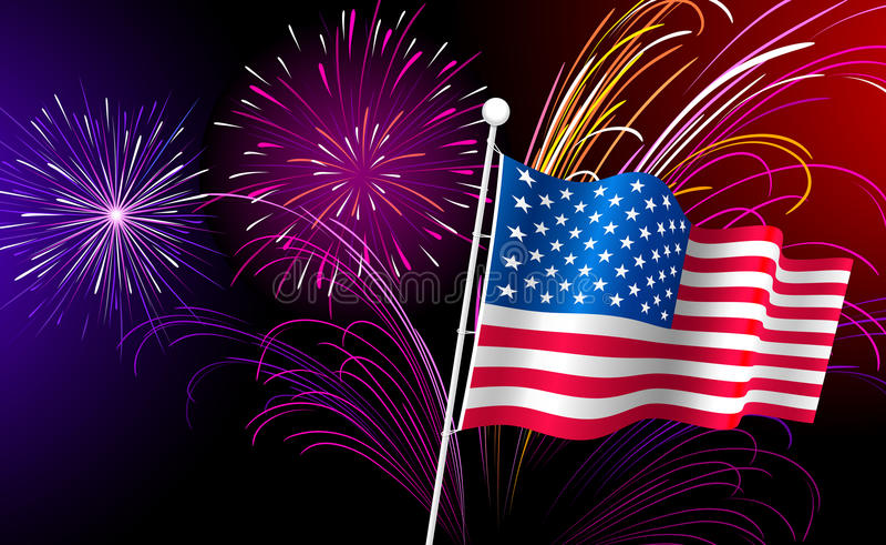Πυροτεχνήματα και αμερικανική σημαία. Διάνυσμα. απεικόνιση αποθεμάτων